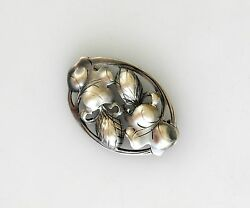 Kalo Arts And Crafts Sterling Silver Handwrought Floral Motif Pin