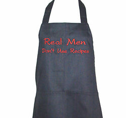 Man's Apron, Real Men Don't Use Recipes, Funny, Personalize With Name, Agift 531