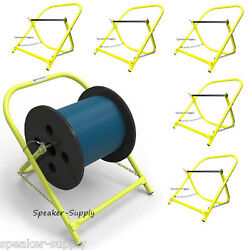 6 Pack Cable Caddy Catv Wire Installer Spool Reel Holder Folding Yellow Lot Set