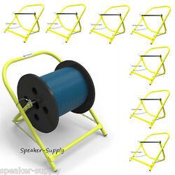 8 Pack Cable Caddy Catv Wire Installer Spool Reel Holder Folding Yellow Lot Set