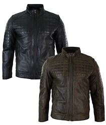 Mens Tailored Fit Real Leather Stitch Designer Real Leather Zipped Biker Jacket