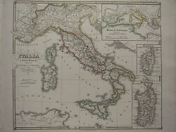 1850 Spruner Antique Historical Map Italy Punic Wars West Roman Empire Corsica