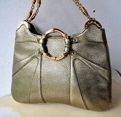 Gucci Tom Ford Gold Metallic Leather Bamboo Chain Shoulder Bag Italy Rare Ltd Ed