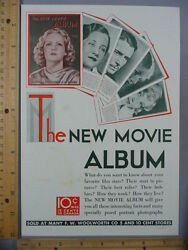 Rare Orig Vtg 1930 F W Woolworth Co New Movie Album Camels Advertising Art Print