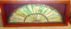 Vintage X-large Early Centry Arched Stained Glass Window