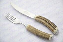 One Genuine Stag/antler Handle Steak Knife And Fork Made In Sheffield England