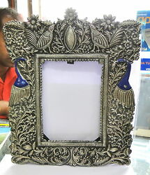 Vintage Antique Solid Silver Handcrafted Photo Frame Rajasthan India