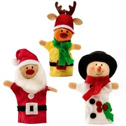 Set Of 3 Christmas Finger Puppets - Santa Snowman And Rudolph - Xmas Gift Idea