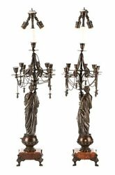Antique Candelabrum Lamps, Pair Of French Neoclassical Bronze Lamps, Gorgeous
