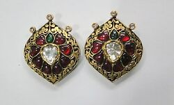 Vintage Antique Solid 22k Gold Jewelry Diamond And Precious Gemstones Earring Pair