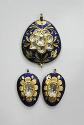 Vintage Antique Solid 20k Gold Jewelry Diamond Enamel Work Pandent And Earring