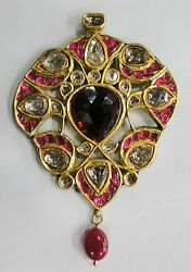 Vintage Antique Solid 20k Gold Jewelry Diamond Ruby And Precious Gemstones Pendant