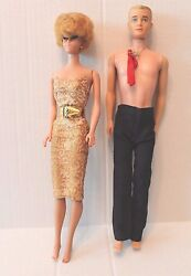 Lot Vintage 1960 Blonde Barbie Doll In Gold Dress And Ken Doll In Pants And Tie