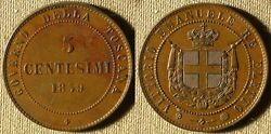 Italy - States Tuscany 1859 5 Ct Ch.au-unc Red Stain On Rev 83 Ir3344