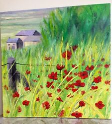 Large Painting Poppies Field Oil Canvas Original Impressionism Clp Art