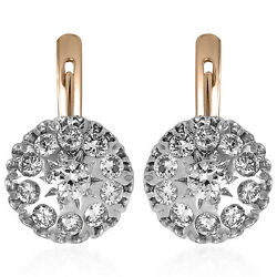 Russian Style 14k Rose And White Gold Genuine Diamond Earrings 13.70mm