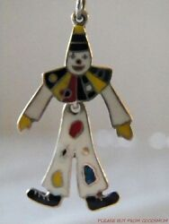 Vtg Articulated Enamel Sterling Clown Pierced Earrings Taxco Mexico Tr-58 Signed