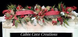 Country Christmas Mantel Garland Decorated Swag Holiday Woodland Snow Flocked