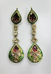 Vintage Antique Solid 20k Gold Jewelry Diamond And Rhodolite Earring Pair