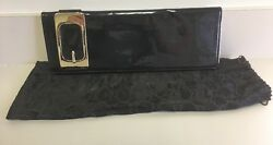 Gorgeous Gucci Black Patent Leather Shimmer Buckle Clutch HandbagPurse 167731