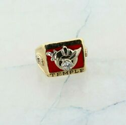 10k Yellow Gold Men's Shriners Ring With Diamond, Size 9