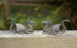 1980 Spoontiques Set Of Two Pewter 3 1/4 Horned Winged Dragons Pp 508