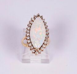 14k Yellow Gold Opal And Diamond Chip Ring Size 3.75