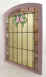 Vintage Arched Stained Glass Window Panel 2989nj