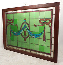 Large Vintage Stained Glass Window Panel 3020nj