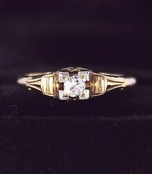 1950 Vintage Antique 14k Yellow Gold Old Miner Cut Diamond Engagement Ring 6.5