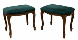 Antique Stools, Foot, Green Upholstered, Louis Xv Style, Charming Pair