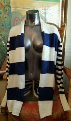 375 Nwt Neiman Marcus The Cashmere Collection Ivory Navy Striped Cardigan Sz L