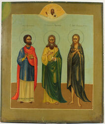 c1860 ANTIQUE RUSSIAN ORTHODOX ART ICON 3 SAINTS ST DAMIAN SIMEON MARY OF EGYPT
