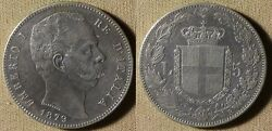 Italy 1879 5 Lira Xf-au Past Cleaning Some Light Brushing Obv 20 Ir3393