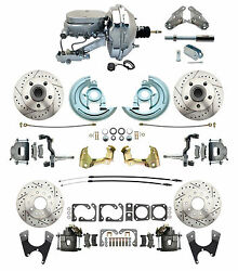 1964-1972 Chevelle 9 Chrome Flat Top Front Rear Disc Brake Kit Drilled Slotted
