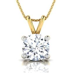 Solitaire 18 Kt Yellow Gold 1 Carats Necklace Round Pendant 4 Prongs Ladies
