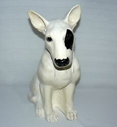 ENGLISH BULL TERRIER FIGURE 12 12 INCHES BLACK AND WHITE PUPPY DOG STATUE