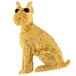 Scottish Terrier Brooch with Blue Eyes 14kt Yellow Gold