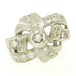Vintage 14k White Gold 1.0ctw Round Brilliant And Single Cut Diamond Cocktail Ring