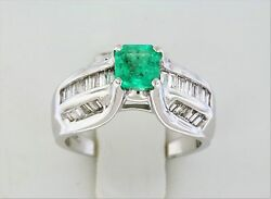 14k White Gold Emerald And Baguette Diamond Ring