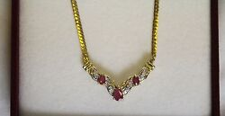 Antique14k Italy Yellow Gold Necklace Genuine Ruby And Diamonds 17in 5.8 Grams