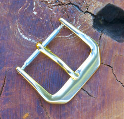 Yellow Gold-plated 1950s/60s Vintage Watch Buckle 14.5mm Size Cut Corners Design