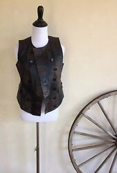 Distressed Leather Western Barn Riding Military Moto Vest 4 Nwot