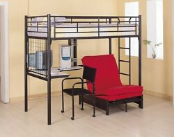 Bunk Bed Futon Chair Combo Workstation Teens Room Dorm Space Saver Desk Chair