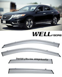 For 10-15 Honda Crosstour Side Smoked Window Visors Rain Guard Wellvisors