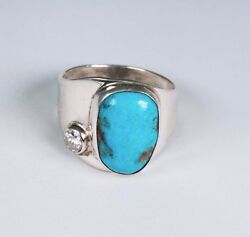Sterling Silver American Indian Turquoise And Mine Cut Diamond Ring, Size 11.5