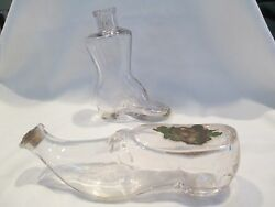 Two Victorian Figural Shoe Boot Perfume Cologne Bottles Blown C1880s 1 Labeled