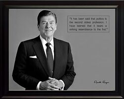 Ronald Reagan Photo Picture, Poster Or Framed Black Wood With Featured Quote