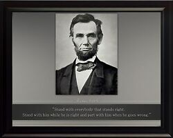 Abraham Lincoln Photo Picture Poster Or Framed Quote Stand With Everybody