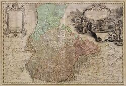 Antique Map, Early Of Germany, Selsia, 1736, 18th Century 1700s , Awesome